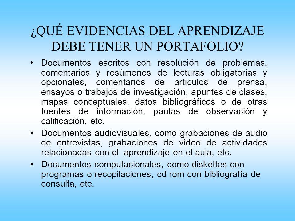 ¿QUÉ EVIDENCIAS DEL APRENDIZAJE DEBE TENER UN PORTAFOLIO? Documentos escritos con resolución de problemas, comentarios y resúmenes de lecturas obligat