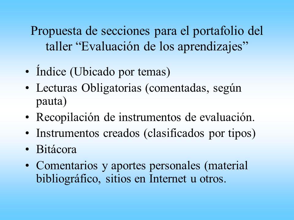 Propuesta de secciones para el portafolio del taller Evaluación de los aprendizajes Índice (Ubicado por temas) Lecturas Obligatorias (comentadas, segú