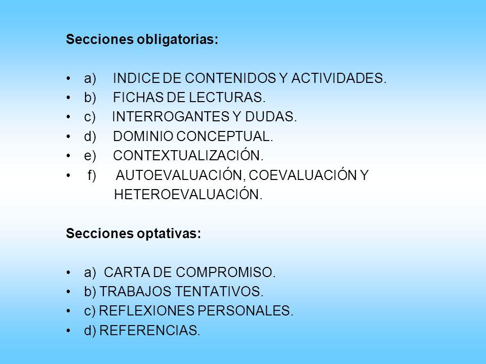Secciones obligatorias: a) INDICE DE CONTENIDOS Y ACTIVIDADES. b) FICHAS DE LECTURAS. c) INTERROGANTES Y DUDAS. d) DOMINIO CONCEPTUAL. e) CONTEXTUALIZ