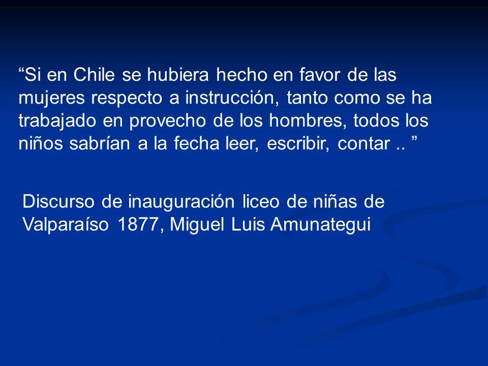 Si en Chile se hubiera hecho en favor de las mujeres respecto a instrucción, tanto como se ha trabajado en provecho de los hombres, todos los niños sa
