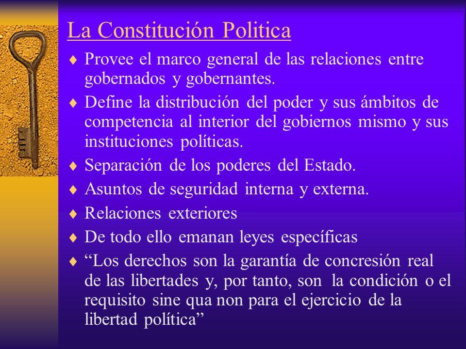 La Constitución Politica Provee el marco general de las relaciones entre gobernados y gobernantes. Define la distribución del poder y sus ámbitos de c