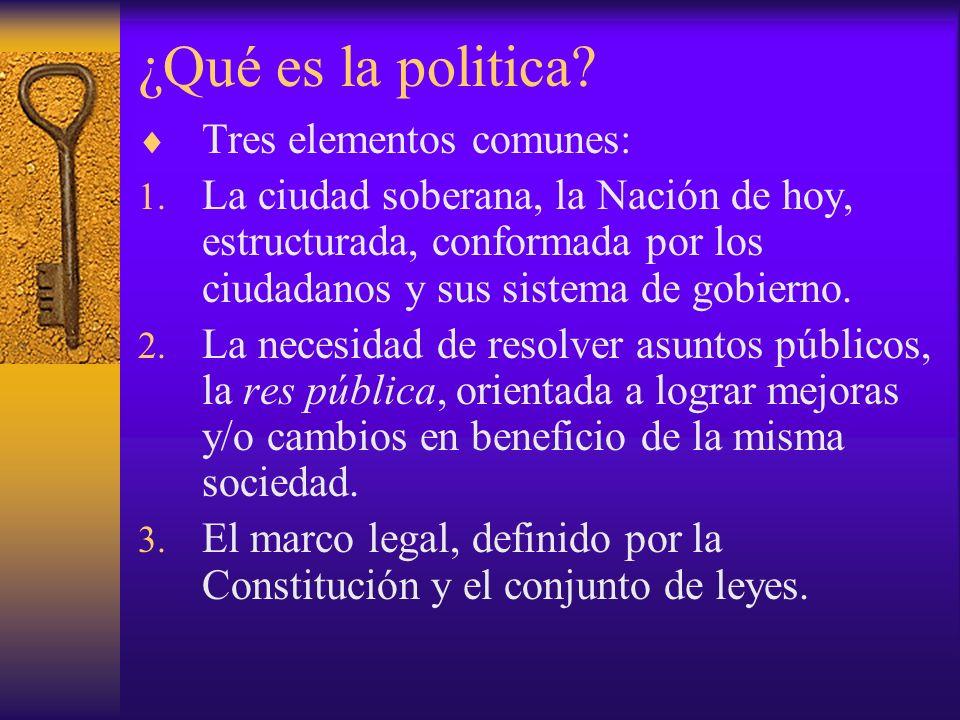 ¿Qué es la politica? Tres elementos comunes: 1. La ciudad soberana, la Nación de hoy, estructurada, conformada por los ciudadanos y sus sistema de gob