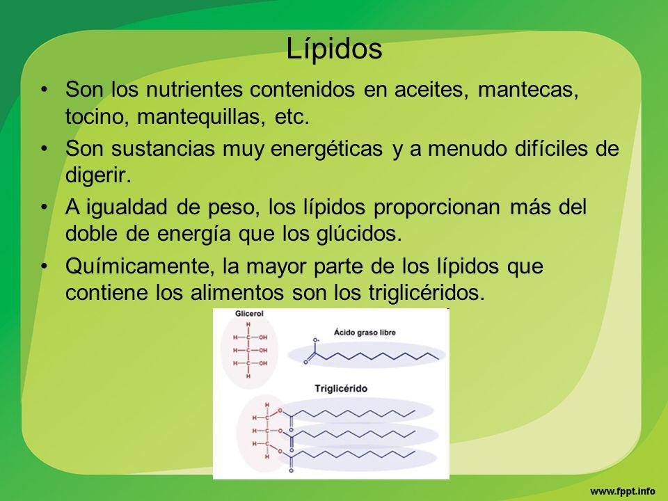 Lípidos Son los nutrientes contenidos en aceites, mantecas, tocino, mantequillas, etc. Son sustancias muy energéticas y a menudo difíciles de digerir.