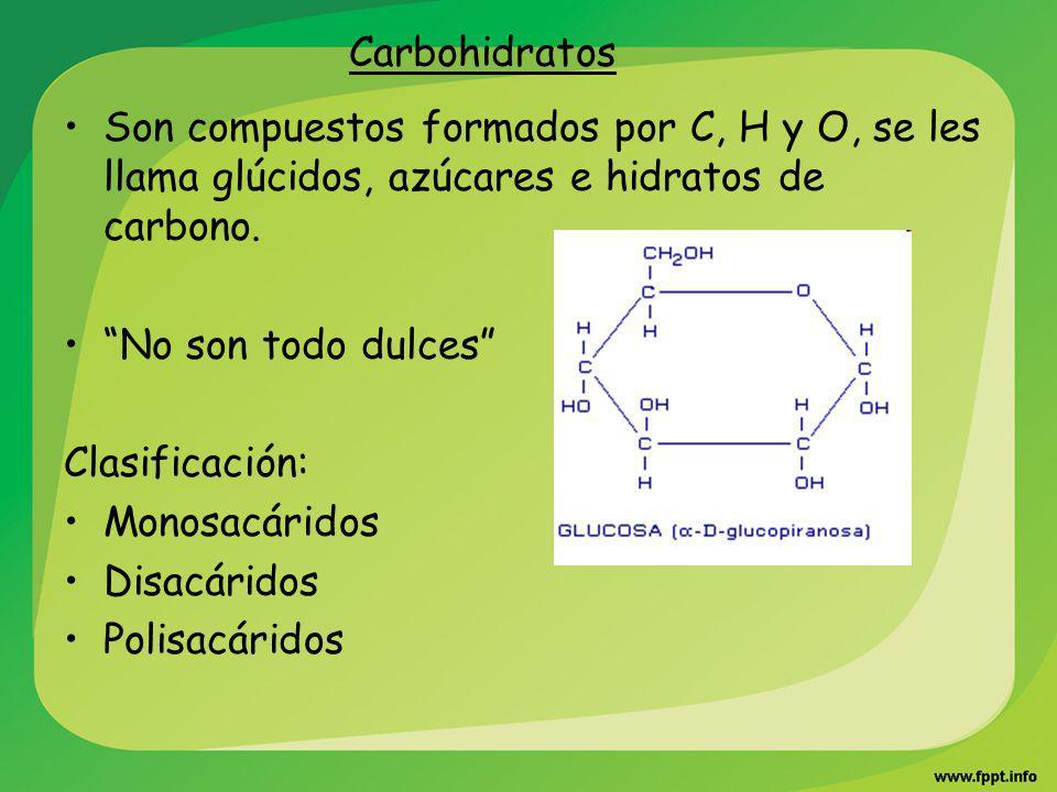 Carbohidratos Son compuestos formados por C, H y O, se les llama glúcidos, azúcares e hidratos de carbono. No son todo dulces Clasificación: Monosacár