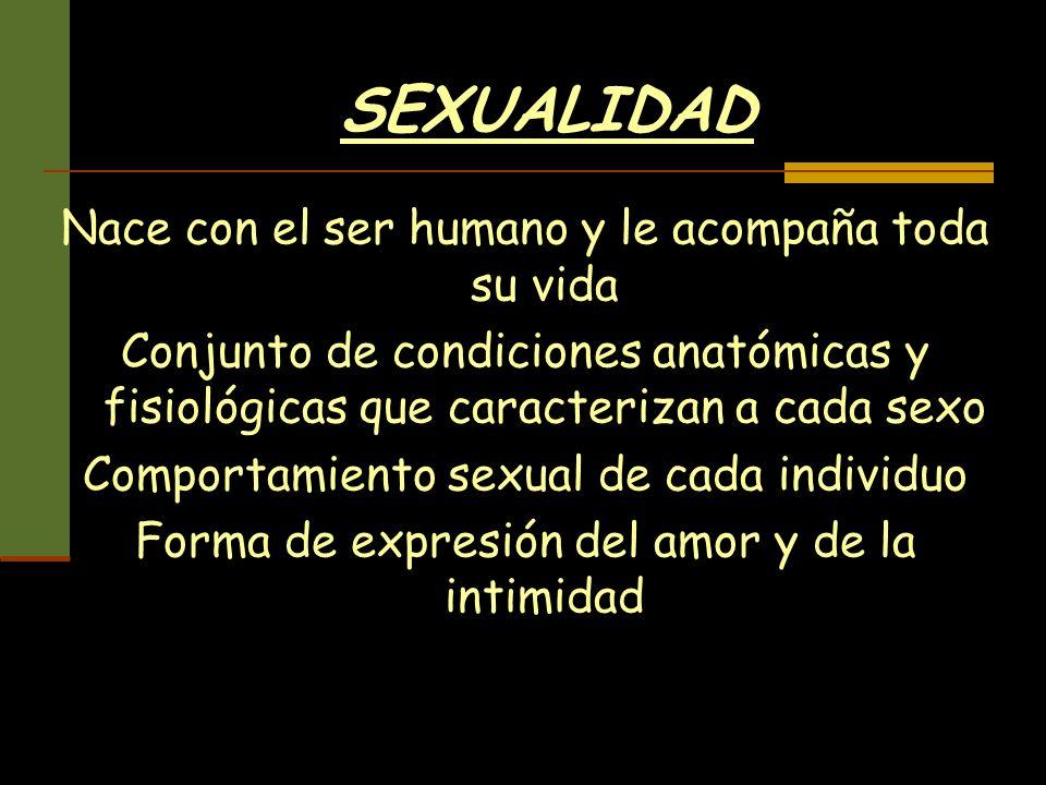 SEXUALIDAD Nace con el ser humano y le acompaña toda su vida Conjunto de condiciones anatómicas y fisiológicas que caracterizan a cada sexo Comportami