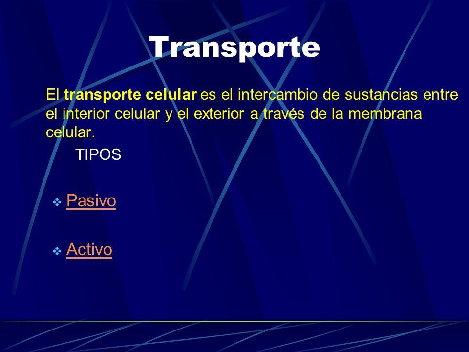Transporte El transporte celular es el intercambio de sustancias entre el interior celular y el exterior a través de la membrana celular. TIPOS Pasivo