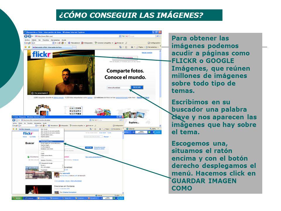 ¿CÓMO CONSEGUIR LAS IMÁGENES? Para obtener las imágenes podemos acudir a páginas como FLICKR o GOOGLE Imágenes, que reúnen millones de imágenes sobre