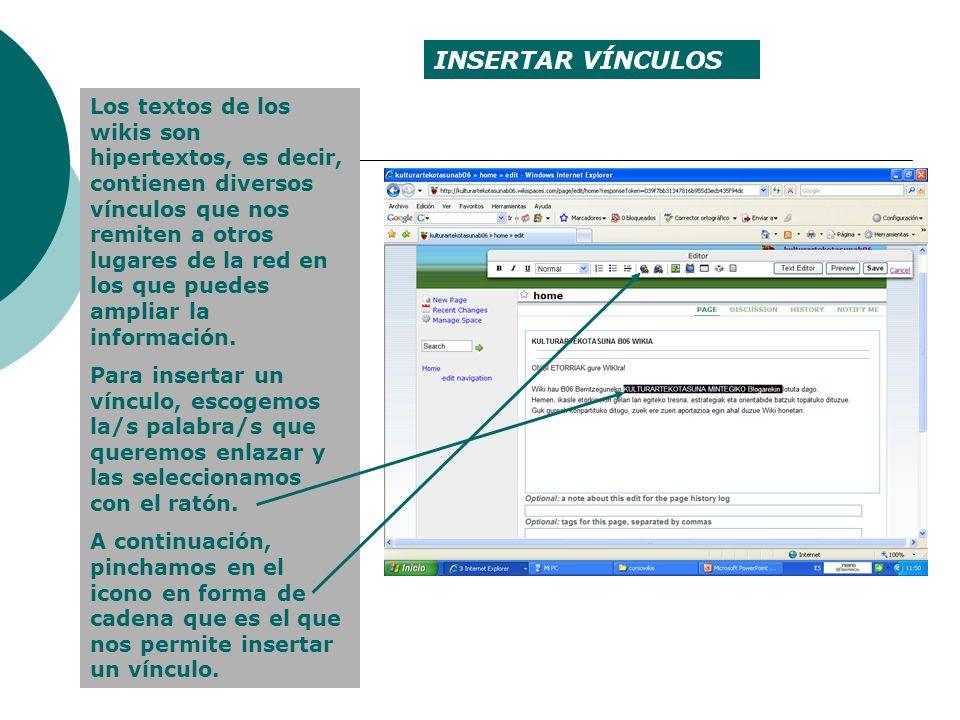 Se despliega un menú en el que nos da dos opciones: enlazar a otra página dentro del wiki (WIKI LINK) o a una página web externa (EXTERNAL URL).