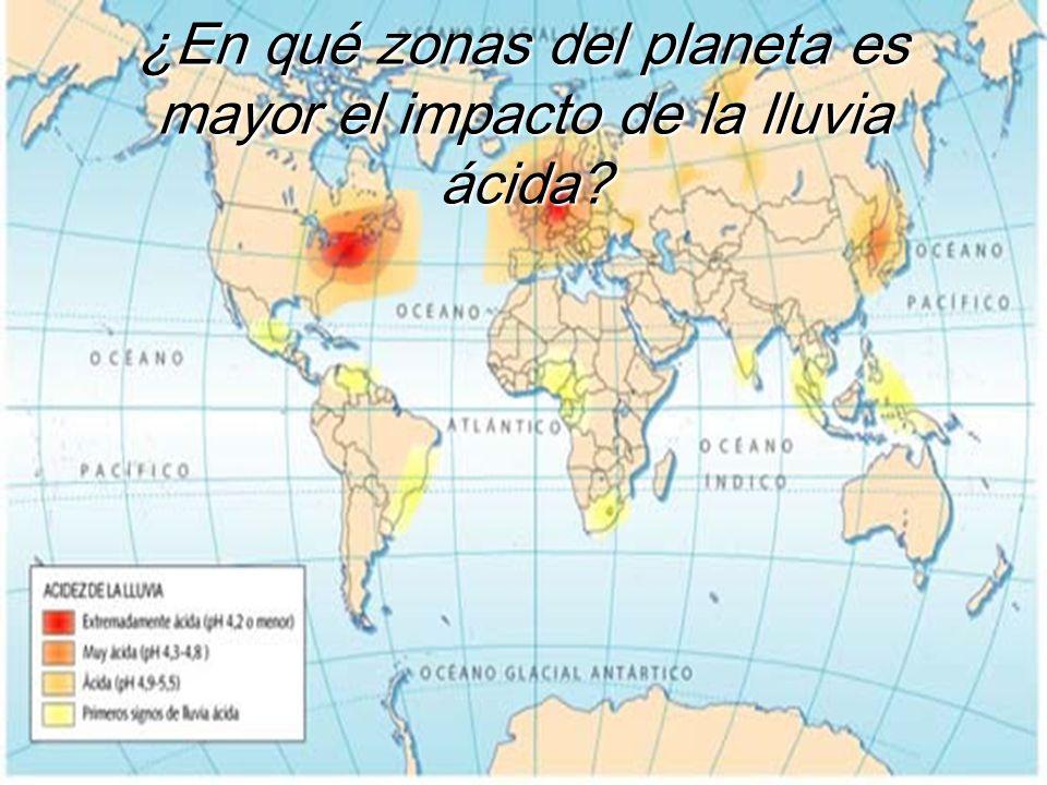 ¿En qué zonas del planeta es mayor el impacto de la lluvia ácida?