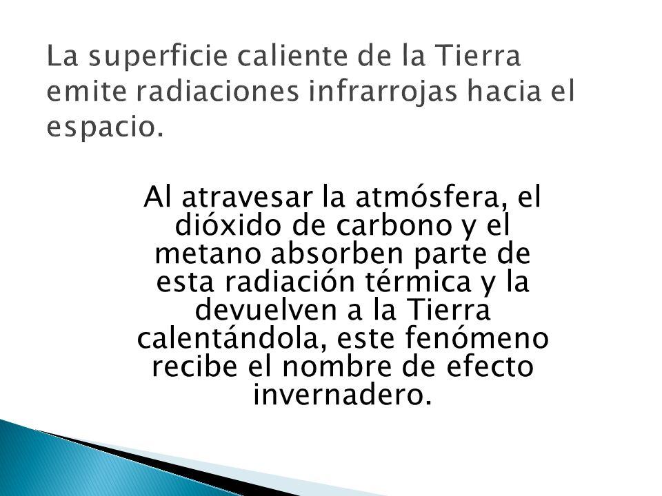 La superficie caliente de la Tierra emite radiaciones infrarrojas hacia el espacio. Al atravesar la atmósfera, el dióxido de carbono y el metano absor