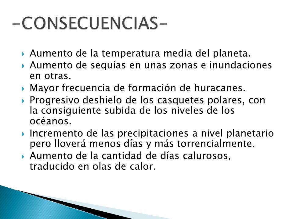 Aumento de la temperatura media del planeta. Aumento de sequías en unas zonas e inundaciones en otras. Mayor frecuencia de formación de huracanes. Pro