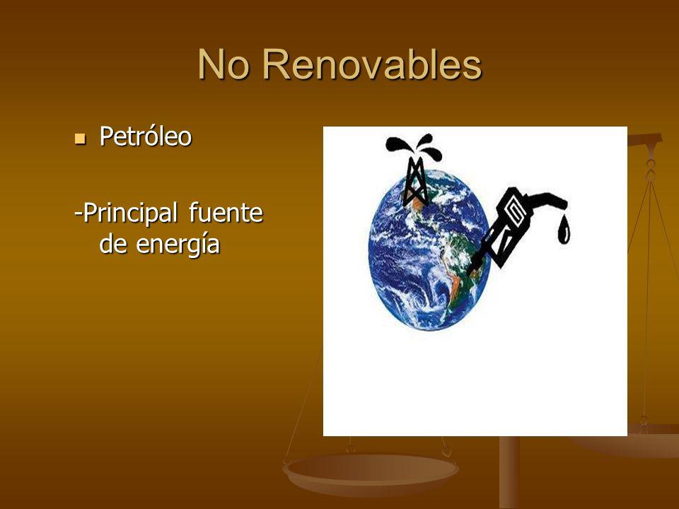 No Renovables Petróleo Petróleo -Principal fuente de energía