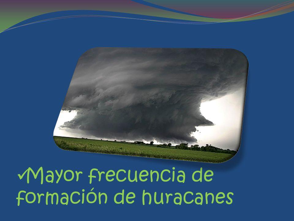 Mayor frecuencia de formación de huracanes