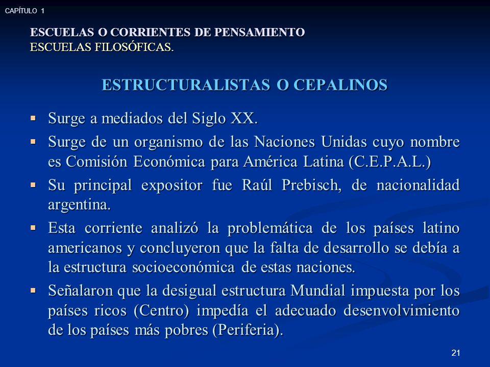 21 ESTRUCTURALISTAS O CEPALINOS Surge a mediados del Siglo XX.