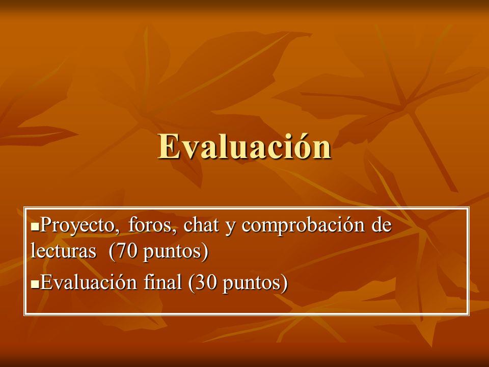 Evaluación Proyecto, foros, chat y comprobación de lecturas (70 puntos) Proyecto, foros, chat y comprobación de lecturas (70 puntos) Evaluación final (30 puntos) Evaluación final (30 puntos)