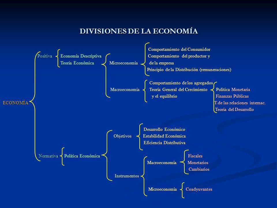 DIVISIONES DE LA ECONOMÍA Comportamiento del Consumidor Comportamiento del Consumidor Positiva Economía Descriptiva Comportamiento del productor y Pos