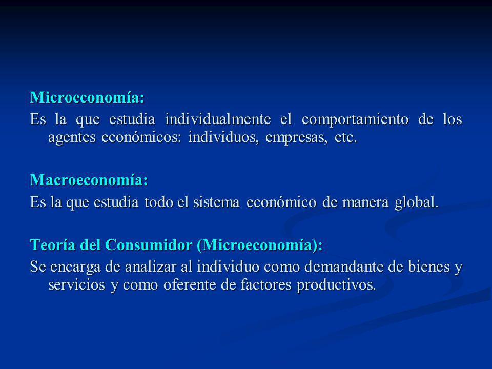 Microeconomía: Es la que estudia individualmente el comportamiento de los agentes económicos: individuos, empresas, etc. Macroeconomía: Es la que estu