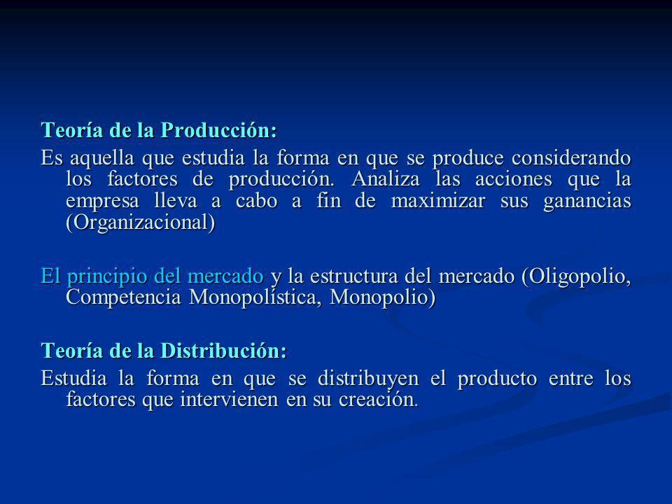 Teoría de la Producción: Es aquella que estudia la forma en que se produce considerando los factores de producción. Analiza las acciones que la empres