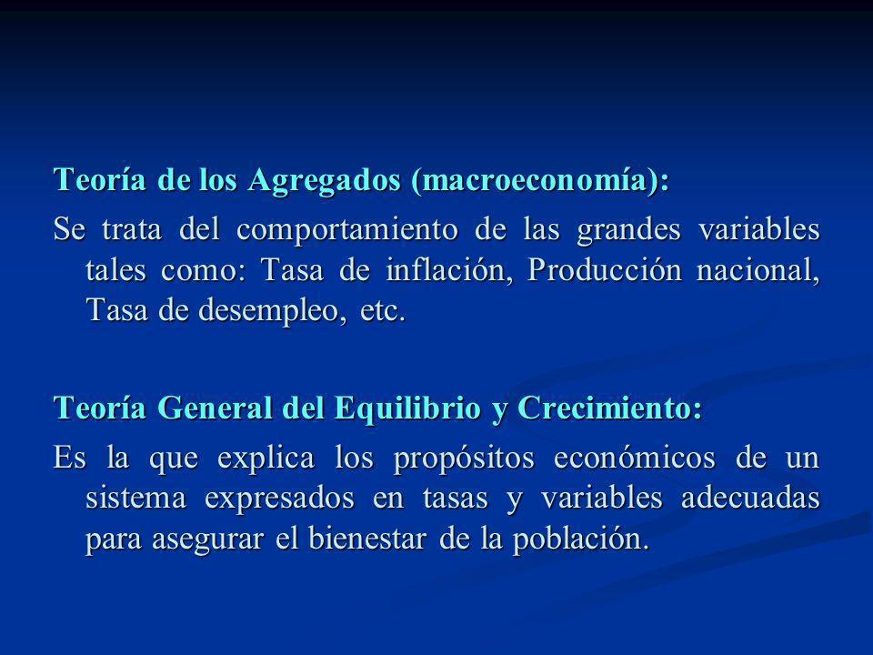Teoría de los Agregados (macroeconomía): Se trata del comportamiento de las grandes variables tales como: Tasa de inflación, Producción nacional, Tasa
