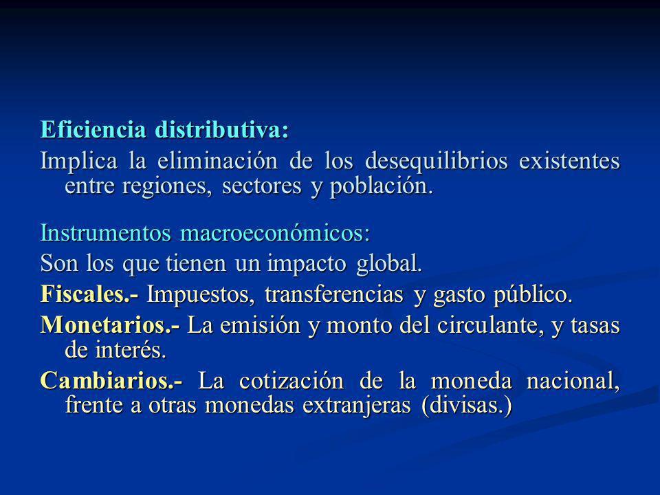 Eficiencia distributiva: Implica la eliminación de los desequilibrios existentes entre regiones, sectores y población. Instrumentos macroeconómicos: S