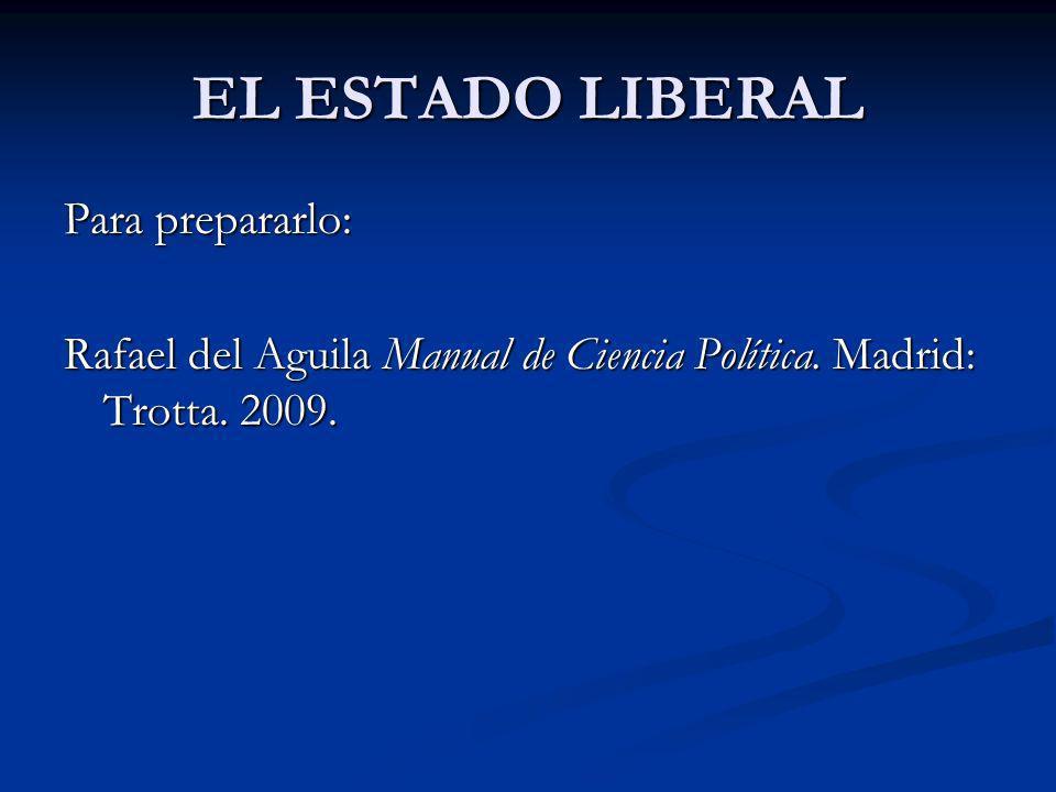 EL ESTADO LIBERAL Para prepararlo: Rafael del Aguila Manual de Ciencia Política. Madrid: Trotta. 2009.