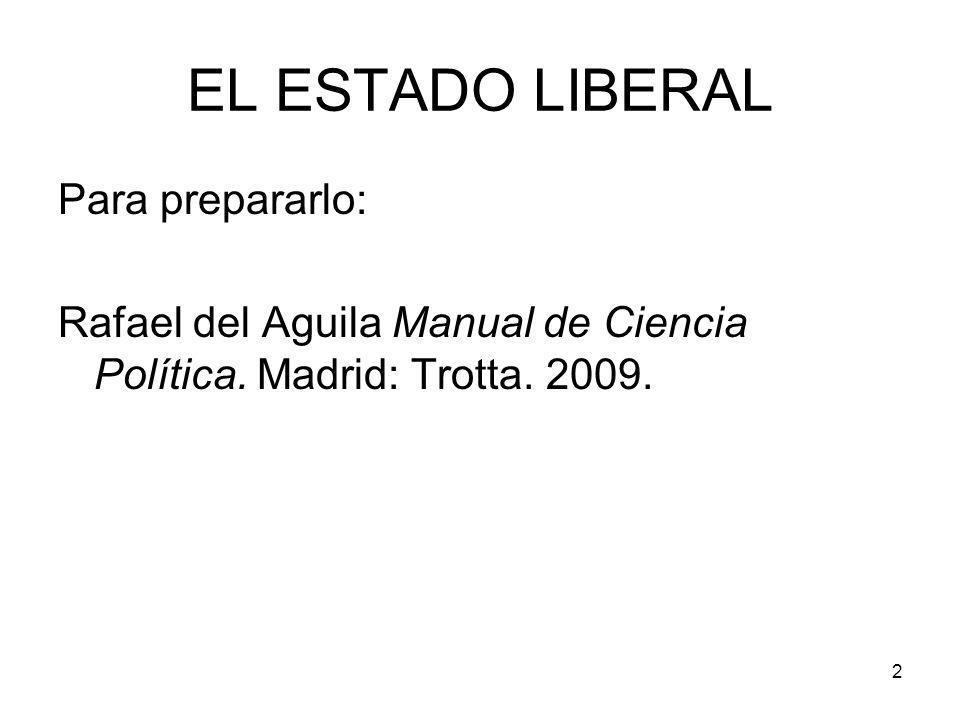 EL ESTADO LIBERAL Para prepararlo: Rafael del Aguila Manual de Ciencia Política. Madrid: Trotta. 2009. 2