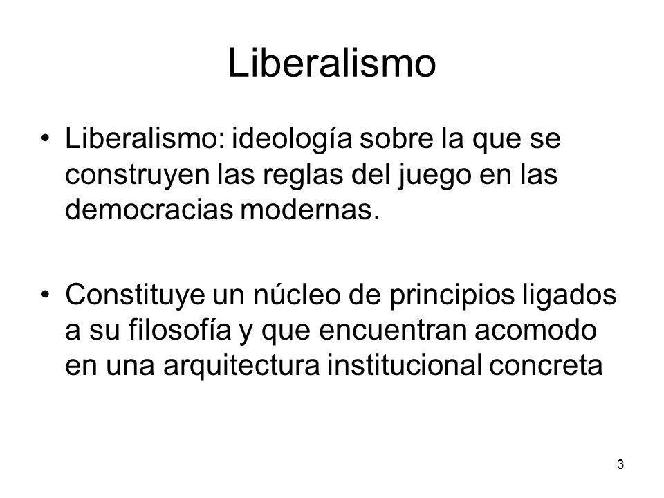 Liberalismo Liberalismo: ideología sobre la que se construyen las reglas del juego en las democracias modernas. Constituye un núcleo de principios lig