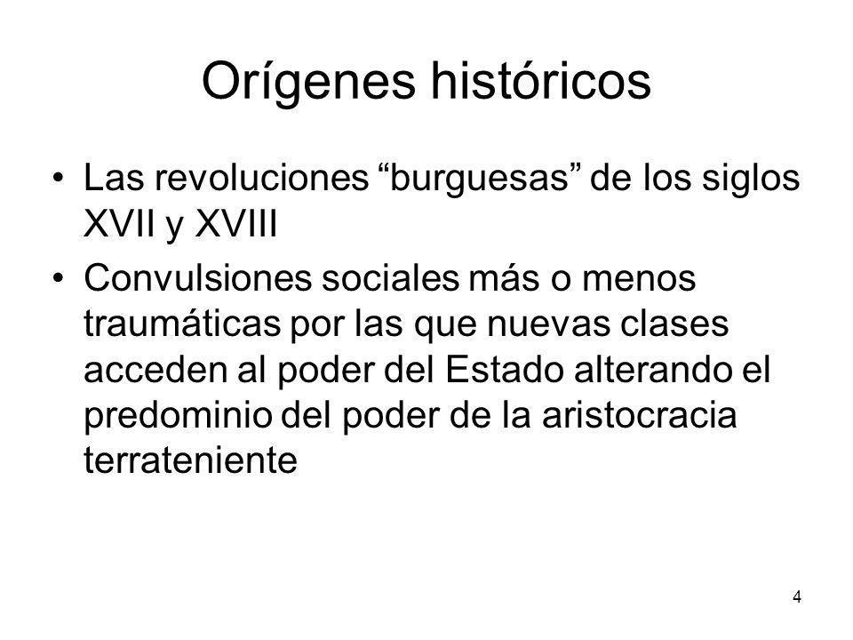 Orígenes históricos Las revoluciones burguesas de los siglos XVII y XVIII Convulsiones sociales más o menos traumáticas por las que nuevas clases acce