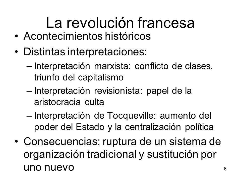 La revolución francesa Acontecimientos históricos Distintas interpretaciones: –Interpretación marxista: conflicto de clases, triunfo del capitalismo –