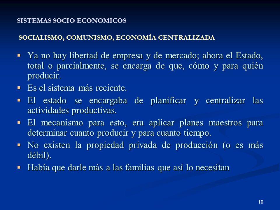10 SOCIALISMO, COMUNISMO, ECONOMÍA CENTRALIZADA SISTEMAS SOCIO ECONOMICOS SOCIALISMO, COMUNISMO, ECONOMÍA CENTRALIZADA Ya no hay libertad de empresa y