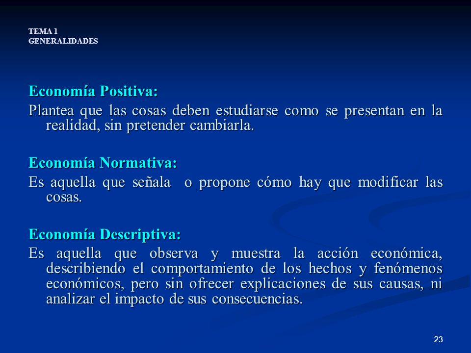 23 TEMA 1 GENERALIDADES Economía Positiva: Plantea que las cosas deben estudiarse como se presentan en la realidad, sin pretender cambiarla. Economía
