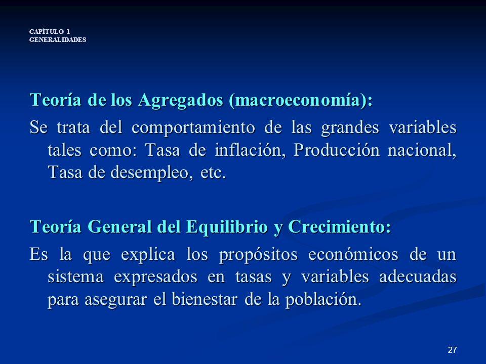 27 CAPÍTULO 1 GENERALIDADES Teoría de los Agregados (macroeconomía): Se trata del comportamiento de las grandes variables tales como: Tasa de inflació