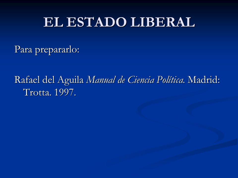 EL ESTADO LIBERAL Para prepararlo: Rafael del Aguila Manual de Ciencia Política. Madrid: Trotta. 1997.