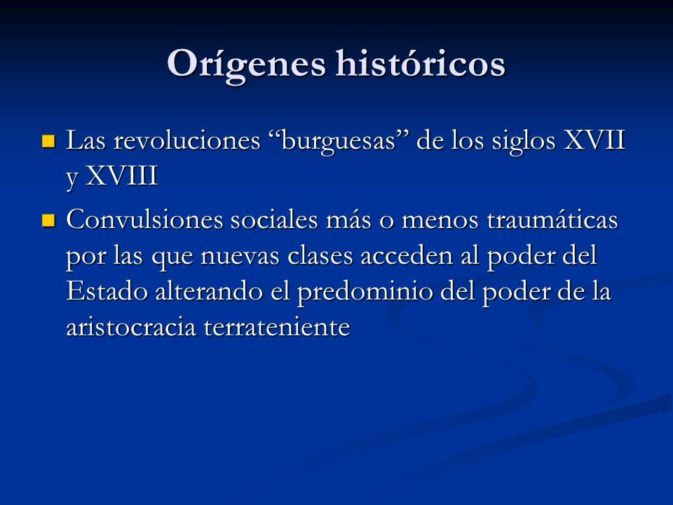 Orígenes históricos Las revoluciones burguesas de los siglos XVII y XVIII Las revoluciones burguesas de los siglos XVII y XVIII Convulsiones sociales