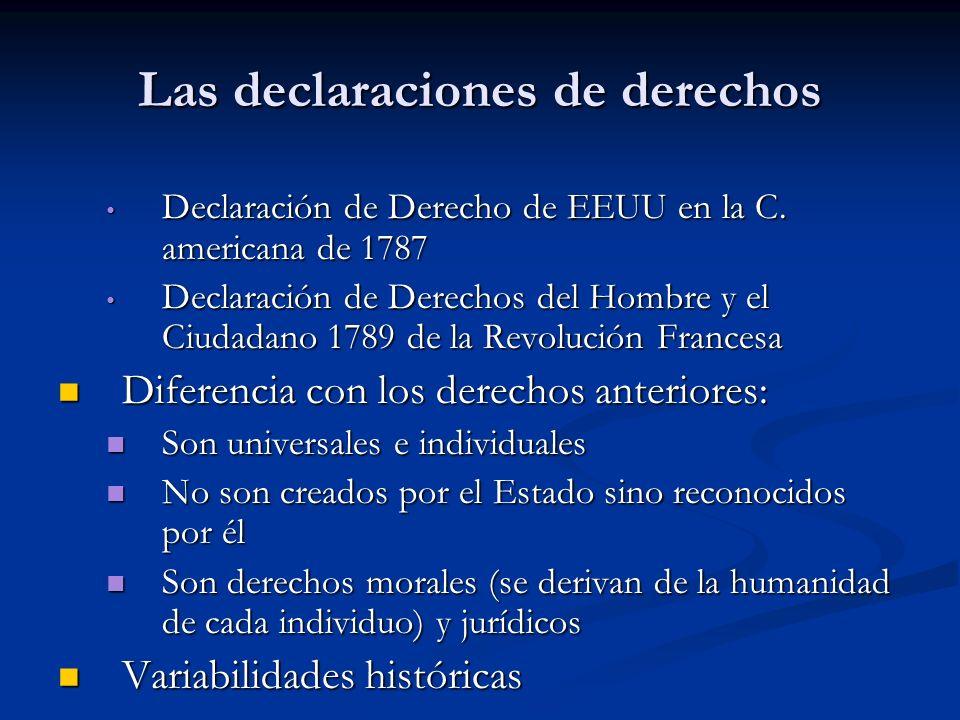 Las declaraciones de derechos Declaración de Derecho de EEUU en la C. americana de 1787 Declaración de Derecho de EEUU en la C. americana de 1787 Decl
