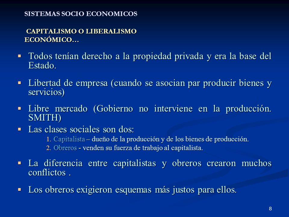8 CAPITALISMO O LIBERALISMO ECONÓMICO… SISTEMAS SOCIO ECONOMICOS CAPITALISMO O LIBERALISMO ECONÓMICO… Todos tenían derecho a la propiedad privada y er