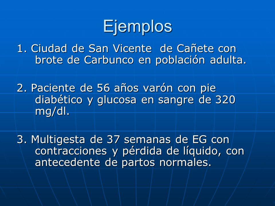 Ejemplos 1. Ciudad de San Vicente de Cañete con brote de Carbunco en población adulta. 2. Paciente de 56 años varón con pie diabético y glucosa en san