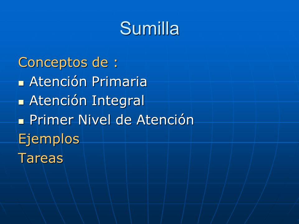 Sumilla Conceptos de : Atención Primaria Atención Primaria Atención Integral Atención Integral Primer Nivel de Atención Primer Nivel de AtenciónEjempl