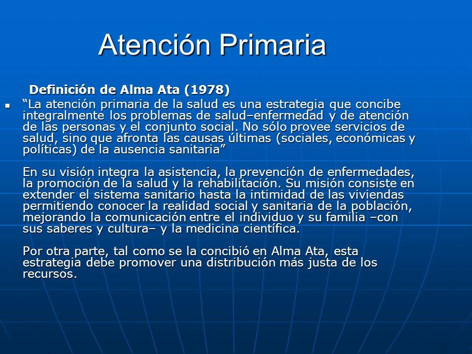 Atención Primaria Definición de Alma Ata (1978) Definición de Alma Ata (1978) La atención primaria de la salud es una estrategia que concibe integralm