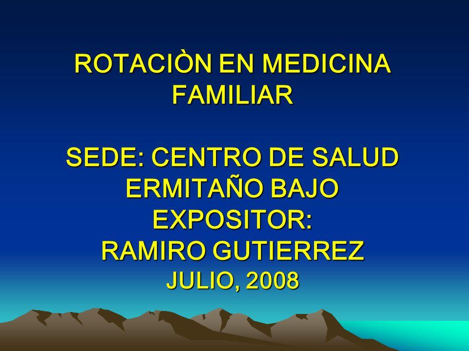 ROTACIÒN EN MEDICINA FAMILIAR SEDE: CENTRO DE SALUD ERMITAÑO BAJO EXPOSITOR: RAMIRO GUTIERREZ JULIO, 2008