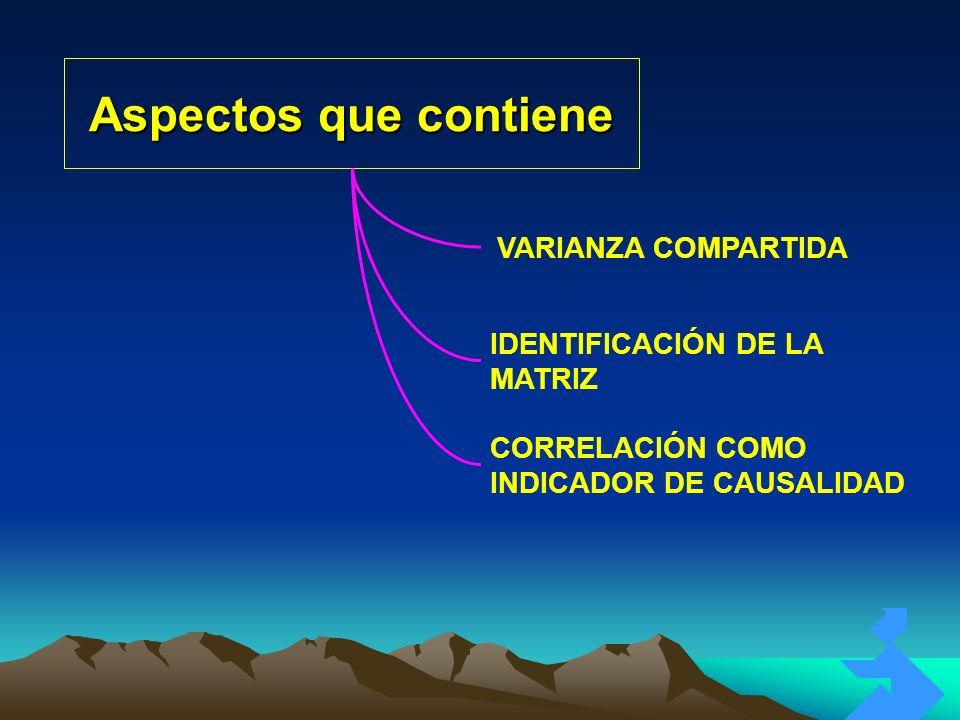 Aspectos que contiene VARIANZA COMPARTIDA IDENTIFICACIÓN DE LA MATRIZ CORRELACIÓN COMO INDICADOR DE CAUSALIDAD