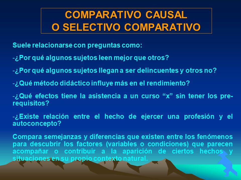 COMPARATIVO CAUSAL O SELECTIVO COMPARATIVO Suele relacionarse con preguntas como: -¿Por qué algunos sujetos leen mejor que otros? -¿Por qué algunos su