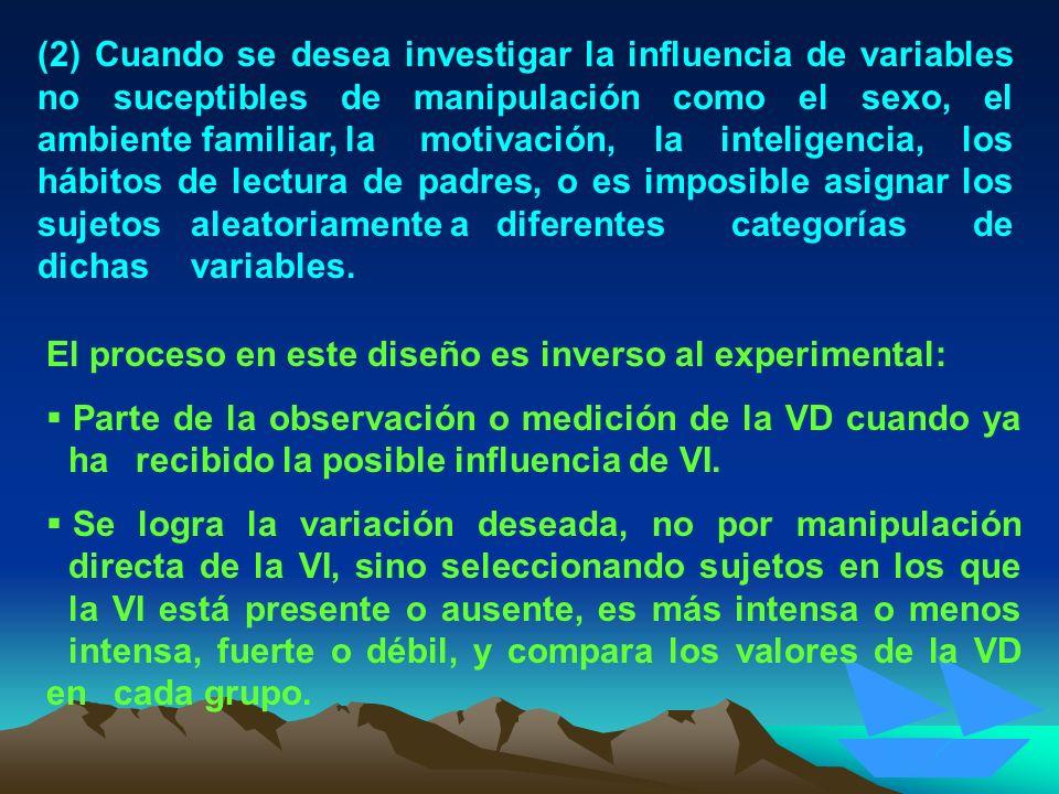 (2) Cuando se desea investigar la influencia de variables no suceptibles de manipulación como el sexo, el ambiente familiar, la motivación, la intelig