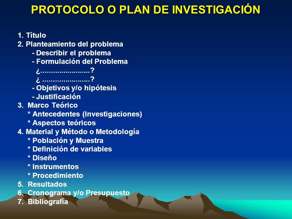 PROTOCOLO O PLAN DE INVESTIGACIÓN 1. Título 2. Planteamiento del problema - Describir el problema - Formulación del Problema ¿........................