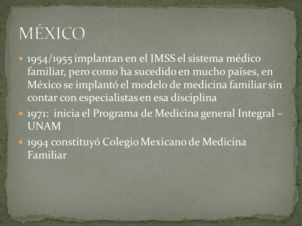 1954/1955 implantan en el IMSS el sistema médico familiar, pero como ha sucedido en mucho países, en México se implantó el modelo de medicina familiar