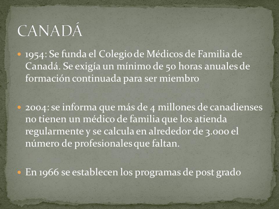 1954: Se funda el Colegio de Médicos de Familia de Canadá. Se exigía un mínimo de 50 horas anuales de formación continuada para ser miembro 2004: se i