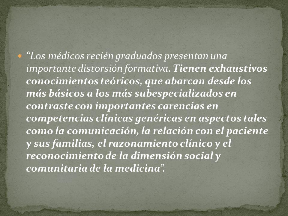 Los médicos recién graduados presentan una importante distorsión formativa. Tienen exhaustivos conocimientos teóricos, que abarcan desde los más básic