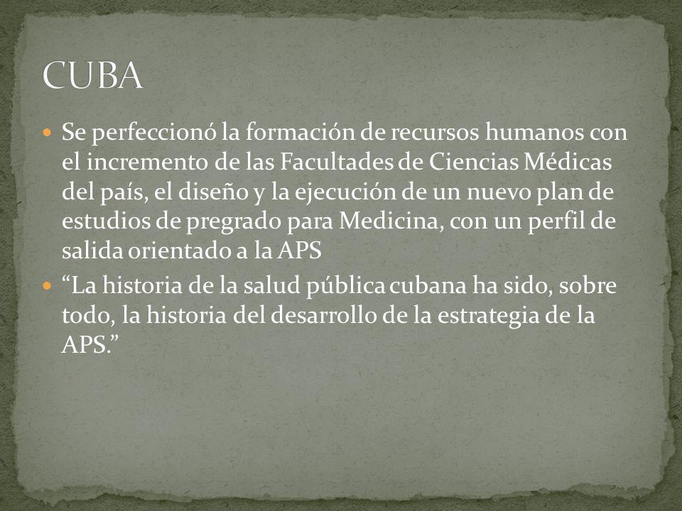 Se perfeccionó la formación de recursos humanos con el incremento de las Facultades de Ciencias Médicas del país, el diseño y la ejecución de un nuevo