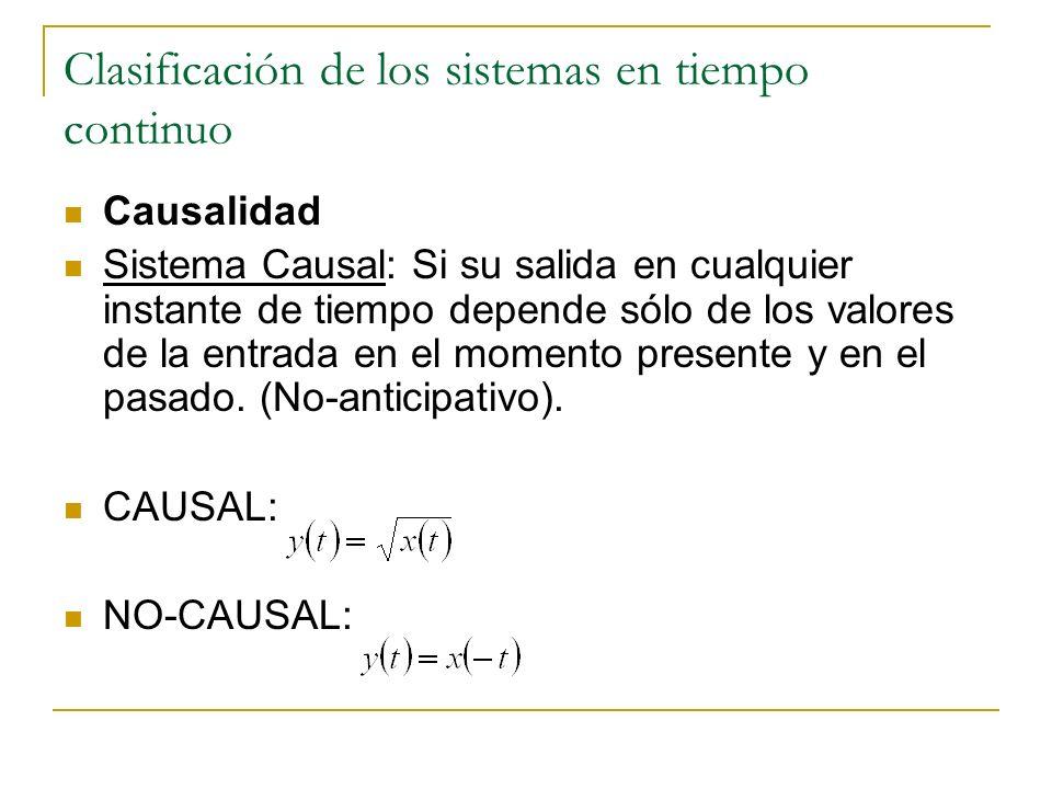 Clasificación de los sistemas en tiempo continuo Causalidad Sistema Causal: Si su salida en cualquier instante de tiempo depende sólo de los valores d