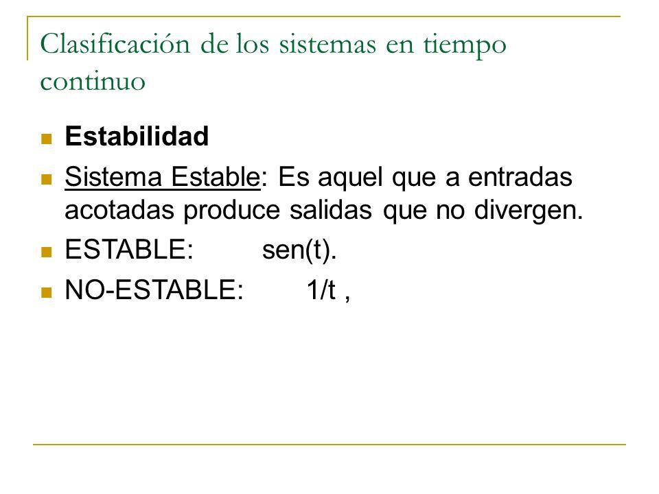 Clasificación de los sistemas en tiempo continuo Estabilidad Sistema Estable: Es aquel que a entradas acotadas produce salidas que no divergen. ESTABL